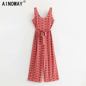 Vintage chic Women Floral print Bohemian Beach Jumpsuit Ladies sleeveless sashes sleeveless rayon Playsuit Boho Overall Tops