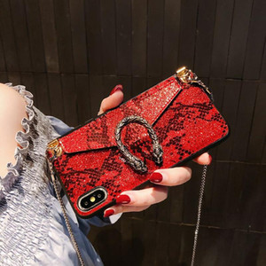 Высокое качество Роскошная чехол для Iphone 11 Pro XS MAX 7 8 сотовый телефон Мода Змея кожаный бумажник чехол карты с талреп