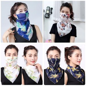Lady Sunshade Scarf Face Mask Chiffon Floral Prints Protective Mouth Masks Womens Anti Dust Neckerchief For Travel 33 Design 4 1yr E1