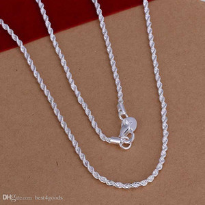 Top Quality 925 Sterling Silver Homens Mulheres torção CORDA Cadeia Colares 2mm 16inch / 18inch / 20inch / 22inch / 24inch / 26inch / 28inch / 30inch