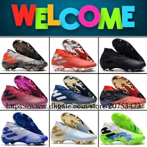 Nemeziz 19 High Ankle Mens FG Soccer Shoes Football Boots Top Quality Firm Ground Outdoor Spikes Socks Soccer Cleats