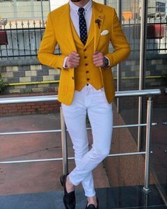 ANNIEBRITNEY Ginger Yellow Casual Man Suit Custom Made Slim Blazer with Pants Groom Wedding Tuxedo New Designs Mens Suits 2020