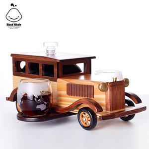 Whisky Set NOUVEAU 2020 Decanter cadeau avec Verre en cristal et Old Fashioned Vintage Car Stand - Coffret cadeau personnalisé pour les hommes, papa, mari, B