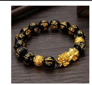 Feng Shui obsidiana cuentas de piedra pulsera unisex Hombres Mujeres pulsera de Oro Negro Pixiu riqueza y la buena suerte pulsera de las mujeres