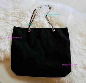 42X33X9CM bagagli moda su misura la catena della spalla del nero della borsa della spesa della tela stampato CC Beach Bag Casual Borsa caso rivista cancelleria