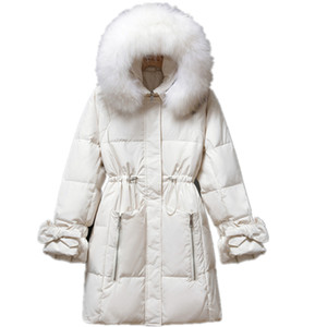 ZVAQS Women's Costumes Real Raccoon Fur Collar Hooded Parkas Jacket Woman White Duck Down Jackets Long Female Coats Casaco TN60