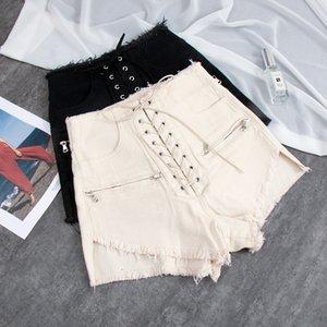 lace up all'ingrosso della fasciatura dei pantaloncini di jeans a gamba larga femminile vita alta street punk stile catene zipepr bicchierini caldi wq1617 dropship