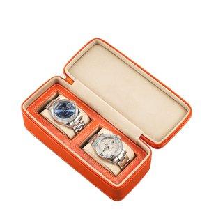 명품 시계 상자 2 시계 쥬얼리 홀더 지퍼 오렌지 블랙 스토리지 박스 주최자 선물 케이스 팔찌 Dropshipping를