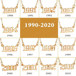 Erkek Kadın Kız Aşıklar Takı 1990-2020 için Kişiselleştirilmiş Yıl Numarası Salkım El yapımı Özel Özel Doğum Yılı İlk Kolye Kolye