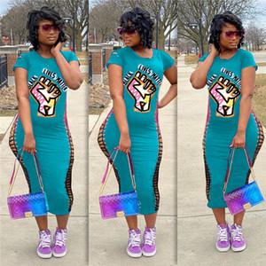Negra vive MATÉRIA Letters Imprimir Buracos quebrados camisa manga curta T vestido Mulheres Bodycon vestidos longos de Slim Sexy One Piece Saias Vestido D71401