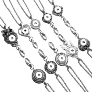 Round Shape Working ID Holder Lanyard Snaps Pendant Necklace 18mm Snap Button Jewelry Snaps Necklace For Snap Jewelry XL0094