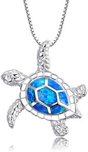 Collane d'argento delle donne Creato Collana Tartaruga Blu Opal mare con Birthstone Jewelry