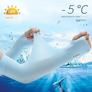 Sun-proof Men's Ice Silk arm Sunscreen long style ice silk length arm thin sleeve sleeve women's summer UV-proof driving long