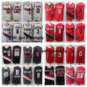 Vintage 0 Damian Lillard Erkek PortlandizBlazers 00 Carmelo Anthony C. J. McCollum 3 22nba Clyde Drexler Basketbol Formalar