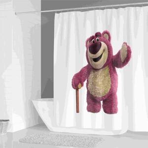 만화 샤워 커튼 세트 홈 인테리어 동물 곰 폴리 에스터 직물 목욕 커튼 (12) 후크 샤워 커튼