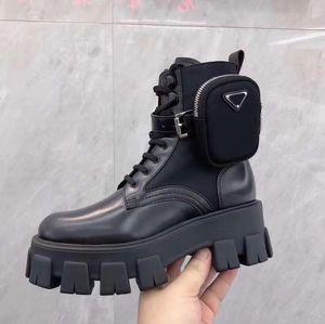 Frauen-Knöchel Martin Stiefel Australien Brushed Rois Stiefel aus echtem Leder Nylon mit abnehmbarem Pouch Black Lady Außen Booties Schuhen mit Box