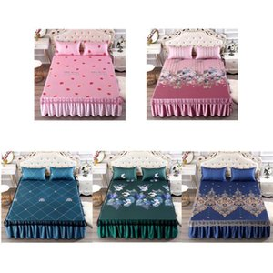 AsyPets 3Pcs Set Summer Sleeping Mat+Pillowcase Set Washable Lace Bed Skirt Pillow Cover