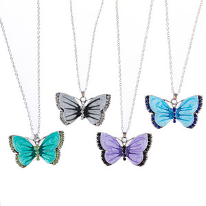 Butterfly Pendant Necklace Vintage Dripping Painted Rhinestone Butterfly Necklace for Women Girls