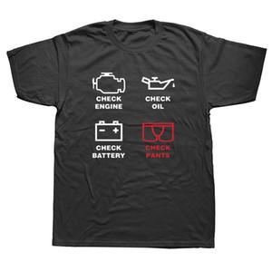 Verifique motor luz Camisetas Homens T-Shirt New Summer manga curta O-Neck Cotton Homens reparação Mechanic Tees Tops Camisetas