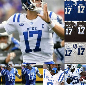 2020 NCAA Duke Blue Devils # 17 Daniel Jones faculdade # 4 Myles Hudzick costurado 150 remendo 2020 Football Jersey homens Shirt