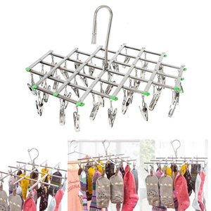 Baffect Clothes Hanger Folding Drying Rack Windproof Stainless Steel 20   35 Pegs Clip Hook for Socks Underwear Gloves T200605