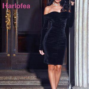 Karlofea New Spring Midi Dress Solid Black Elegant Casual Off Shoulder Velvet Dress Sexy Club Long Sleeve Bodycon Party