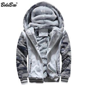 BOLUBAO Winter New Men Hooded Hoodies Quality Brand Men's Plus Velvet Thick Hoodies Camouflage Sweatshirts Tops Male