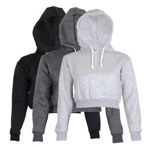 kadın Tam Hoodie Coats Siyah Sonbahar Yeni Kısaca Casual Giyim Kadın Bayan Giyim Düz Crop Top kapüşonlu üstler