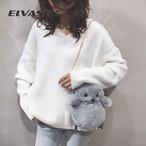 ELVASEK Cartoon cute little yellow chicken shoulder crossbody bag plush soft cute chick mobile phone bag change small