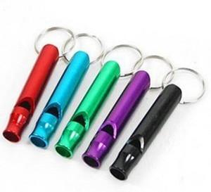 Keychain Mini en alliage d'aluminium sifflet Keychain extérieur Sécurité de survie d'urgence Sport Chasse Camping Keyring Sécurité Fournitures Whistle DWB928