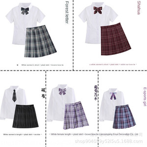Orthodox JK sailor suit positioning line plaid skirt female academic style student uniform class uniform plaid skirt