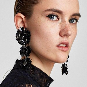 Handmade Sequins Earrings For Lady Fashion Flower Diamond Beaded Stud Baroque Style Personality Top Quality Long Earring