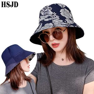 New Women Double-Sided Flower Print Bucket Hat Hip Hop Caps Cotton Foldable Summer Panama Female Outdoor Casual Fisherman Hats