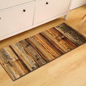 Zeegle Long Kitchen Mat Wood Pattern Mats for The Hallway Welcome Door Mats Floor Rug Anti-slip Kicthen Area Rug Bedside Rug Y200527