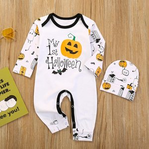 2020 Baby Girls Boys Halloween Clothes Set Infant Toddler Outfits Cartoon Pumpkin Long Sleeve Romper Hats 2PCS Set Baby Outfit