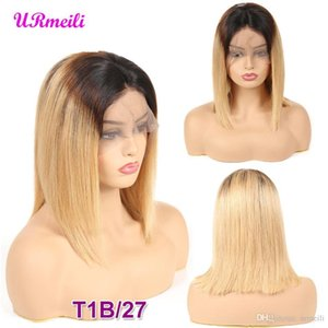 Short BOB Wigs Indian Straight Remy Hair Ombre 613 blonde Lace Front Human Hair Wig 150% Density Natural Color Bob Wig