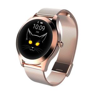 Impermeabile schermo intelligente orologio rotondo KW10 signore IP68 in acciaio inossidabile Tasso Carino Bracciale Cuore sonno monitoraggio SMART Orologio Bluetooth