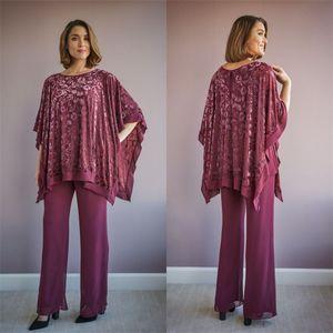 Jasmin Burgund 2021 Mutter der Braut Pant Suits zwei Stücke lange Spitze Jumpsuits Abendkleider Plus Size Wedding Guest Kleid