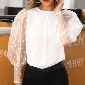 Women Fashion Long Sleeve Sheer Mesh Blouse Sexy Lantern Sleeve Tops Vintage 2020 Dot Printed Baggy Blouse O-neck Shirts