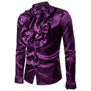 Men's Autumn and Winter Chest Large Flower Costume Fashion Design Men's Stand Collar Long-Sleeved Shirt Cs66 Shirts Men