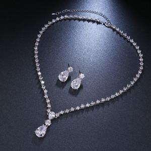 Emmaya Fashion Simple Cubic Zirconia Crystal Women Earrings Necklace Set For Brides Wedding Costume Jewelry Set