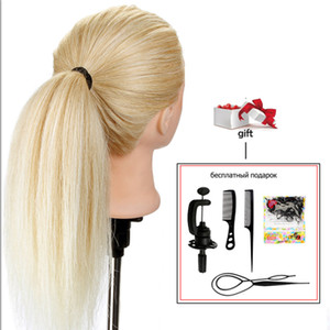 20 '' 100% reale Menschenhaar-Frisuren-Leiter Training für Frisuren Puppe Haar Curling Praxis Mannequin-Kopf + Clamp Dummy-Puppe CX200716