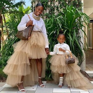 Khaki Girls Skirts Tulle Banquet Long Tulle Tutu Skirt Tiered Girl Dress Wedding Puffy Ropa infantil de flores