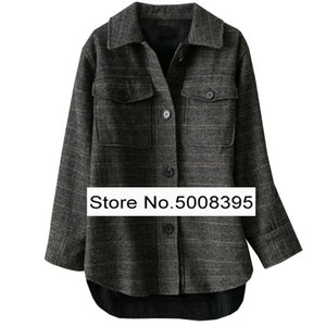 Black grey GARVEY herringbone Checked Wool Blend Jacket Chest pockets Long Sleeves Oversize shirt-collar Front button 2020