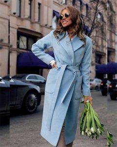 옷깃 목 겨울 여자 블렌드 단색 슬림 두꺼운 방풍 여자 디자이너 코트 긴 소매와 벨트 겨울 겉옷