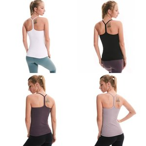 LU em forma de Y Energy Sports Shirts Vest mangas sem costura Yoga Bra Com Chest Pad Backless aptidão Strappy Tanques vestuário para senhora 62lyc E19