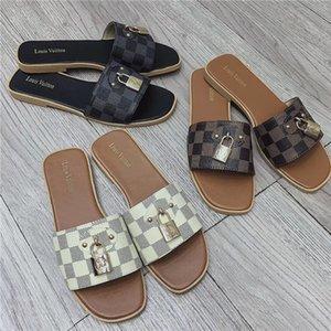 Designer GG Metal lock style Slippers Check printing Flip Flops men women Leather Flat Heel Ladies L̴V Louìs Vuìtton Sliders Sandals