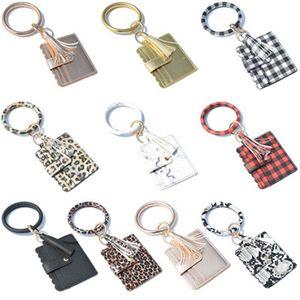 Keychain Card Bag for Women Men Leopard Snake Wallet PU Leather Tassel Kabaw Fashion Bracelet Keychain Party Favor IIA246