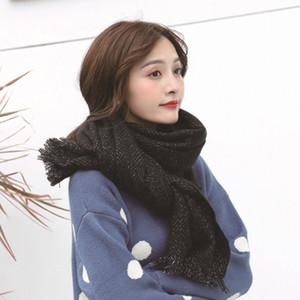 2020 Factory Direct New japonês e coreano Outono e Inverno cor sólida Cashmere Scarf Moda brilhante Silk Shawl ponto Add Atacado Box L