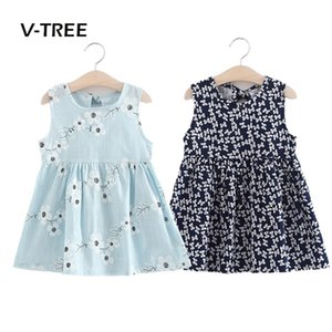 V-TREE summer baby girls dress sleeveless children kids dress cotton sundress for girl fashion clothes 18M-6Year